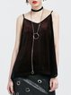Red Casual Velvet Paneled Spaghetti Tanks And Cami