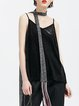 Black Casual Velvet Paneled Tanks And Cami