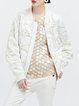 White Long Sleeve Embroidered Cropped Jacket