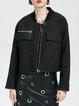 Black Casual Zipper Paneled Cropped Jacket
