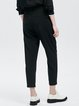 Black Slit Paneled Casual Plain Cropped Pants