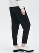 Black Pockets Polyester Casual Cropped Pants