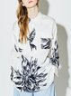 Shirt Collar Long Sleeve Floral Casual Blouse