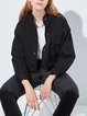 Graphic Long Sleeve Cotton Casual Stand Collar Coat