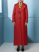Red Washed Lapel Polyester Casual Coat