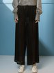 Black Polyester Shift Casual Wide Leg Pants