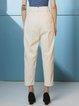 White Cotton Zipper Casual Straight Leg Pants