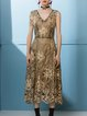 Golden Embroidered V Neck Simple A-line Maxi Dress