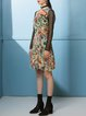 Multicolor Crew Neck Paneled Silk Vintage Midi Dress