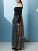 Black Polyester Floral-print Casual Maxi Skirt
