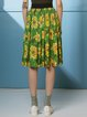 Green Cotton Casual  Floral-print Midi Skirt