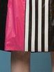 Fuchsia Paneled Stripes Casual Midi Skirt