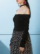 Black Knitted Polyester Off Shoulder Casual Sweater