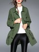 Zipper Shirt Collar Casual Asymmetrical Long Sleeve Coat
