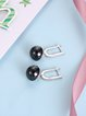 Black Round Silver-Color Earrings