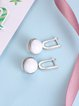 White Round 925 Sterling Silver Earrings