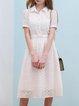 White Guipure Short Sleeve Midi Dress