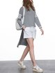 Gray Asymmetrical Long Sleeve Stripes Knitted Sweater