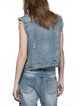 Blue Shirt Collar Denim Casual Ribbed Vests And Gilet