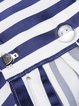Blue Pockets Casual Stripes Shorts