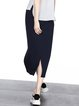 Navy Blue Casual Slit High Low Midi Skirt