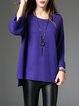 Purple Knitted Casual Solid Sweater