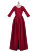 Folds Solid Crew Neck 3/4 Sleeve Elegant Maxi Dress
