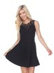 Casual A-line Sleeveless Crocheted Solid Crew Neck Mini Dress