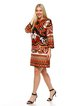 Casual Abstract Printed 3/4 Sleeve Shift Mini Dress