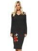Sheath Floral Long Sleeve Casual Acrylic Sweater Dress
