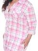 Pink-white Long Sleeve Shirt Collar Blouse