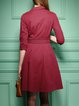 Elegant Half Sleeve Houndstooth Midi Dress With Belt