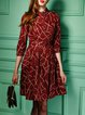 Red Shirt Collar Buttoned Folds Midi Dress With Belt