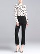 Black Casual Solid Guipure Lace Flared Pants
