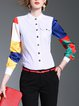 White Printed Stand Collar Casual Blouse