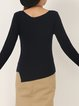 Asymmetric Elegant Long Sleeve Solid Sweater