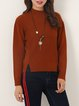 Brown Slit Stand Collar Long Sleeve Sweater