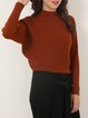 Ribbed Casual Batwing Stand Collar Sweater
