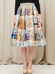 Multicolor Vintage Skater Printed Midi Skirt