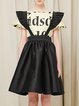 Black Casual Ruffled Plain A-line Overall Skirt