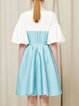 Blue A-line Paneled Color-block Elegant Midi Dress