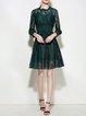 Dark Green Cotton A-line  Casual Midi Dress