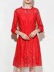 Red Crew Neck Guipure 3/4 Sleeve  Midi Dress