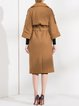 Lapel H-line Long Sleeve Coat With Belt