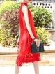 Embroidery Sleeveless Stand Collar Vintage Style Midi Dress
