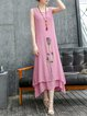 Vintage Style Two Piece 3/4 Sleeve Painted Floral Maxi Dress