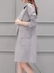 Light Gray Long Sleeve Buttoned Lapel Solid Trench Coat