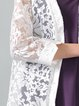 Floral-embroidered 3/4 Sleeve Linen Outerwear