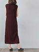 Slit Sleeveless Linen Solid Linen Dress