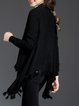 Solid Fringed Asymmetrical Long Sleeve Knitted Cardigan